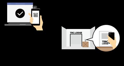 WEBサイトで来場予約、QRコードを発行。エントランスの読み取り機にQRコードをかざして入場。