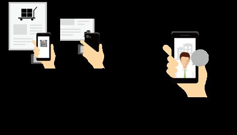 企業ブースの読み取り機にQRコードをかざすだけで、出展企業とコンタクトを取ることができます。